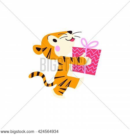 Cute Little Tiger Character With Gift Box Walk Isolated On White Background. Side View. Vector Flat