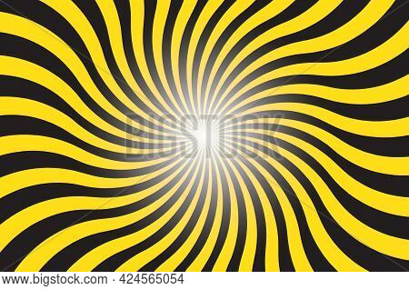 Abstract Yellow And Black Background With Sun Ray. Summer Vector Illustration For Design