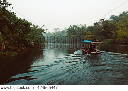 Early Morning At The River Kwai In Thailand With Wooden Raft, Travel Outdoor Touristic Concept