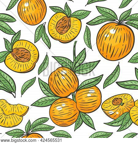 Seamless Pattern With Peaches, Vector. Whole Peach, Half, Slice, On A Branch And Leaves. Bright Back