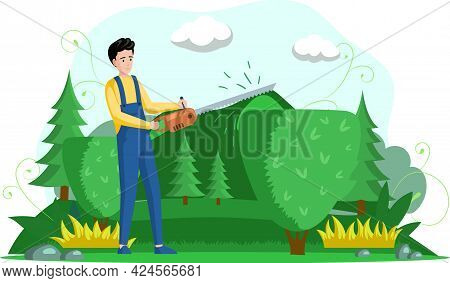 Man Trimming Plant With Hand Saw Trimmer. Professional Garden Worker Working With Bush Or Tree In Ba