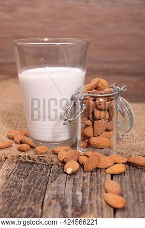 almond milk and fresh almond