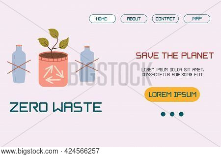 A Template, A Landing Page Layout With An Illustration Of No Plastic, A Home Pot With A Sprout Conce