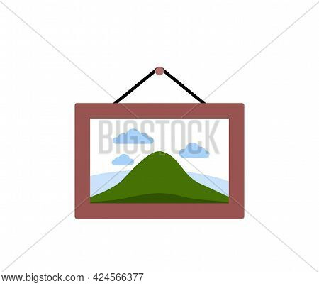 Picture In Wooden Frame Hanging On Wall, Icon In Flat Style Art Object Isolated On White Background.