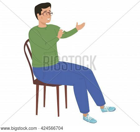 Smiling Man With Glasses Sits On Chair. Guy Sitting On Chair Holds Card In His Hands. Male Character