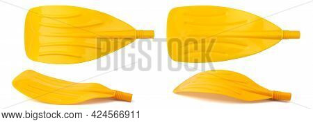 Plastic Paddle Of Yellow Color For An Inflatable Boat Isolated From Four Angles On A Clean White Bac