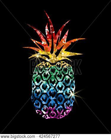 Pineapple Golden Glitter Icon With Rainbow Colors Glitter Sequins. Modern Image For Pride Lgbt Symbo