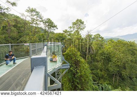 Chiang Mai, Thailand - Nov 30,2018 : Unidentified People Walking On The Canopy Walkway At Queen Siri