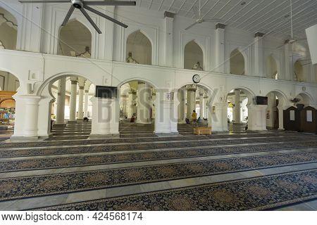 Penang, Malaysia - February 14,2019 : Interior View Of Kapitan Keling Mosque In Penang, Malaysia On