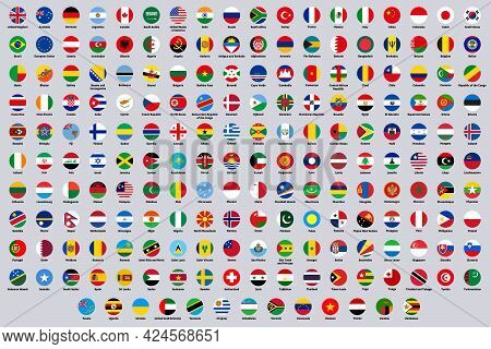 World National Round Flags. Europe, America And Asia Countries Flags, Rounded National Symbols Vecto