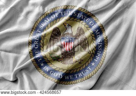 Waving Detailed National Us Country State Flag Of Mississippi Seal