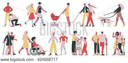 Disabled Characters Care. Handicapped People Get Volunteers, Friend And Family Help And Care Vector