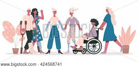 Handicapped People. Group Of Disabled Characters, Friendly Disable Injury Persons Isolated Vector Il