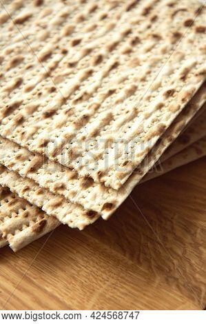 Traditional Jewish Kosher Matzo For Passover. Set With Passover Matzos On Wooden Background. Pesach