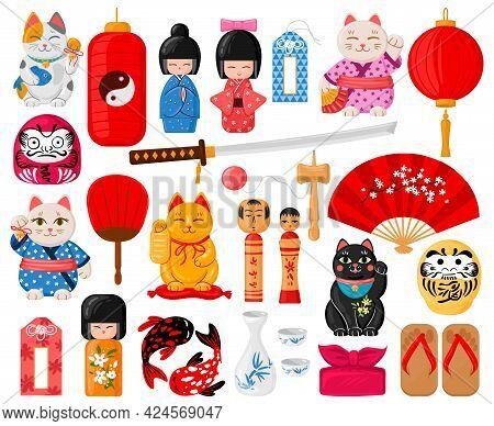 Cartoon Japanese Symbols. Oriental Traditional Toys, Maneki Neko, Omamori, Daruma And Kokeshi Dolls