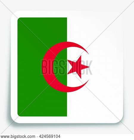 Algeria Flag Icon On Paper Square Sticker With Shadow. Button For Mobile Application Or Web. Vector