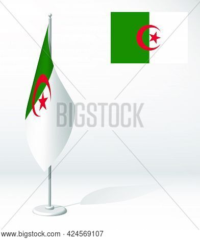Algeria Flag On Flagpole For Registration Of Solemn Event, Meeting Foreign Guests. National Independ