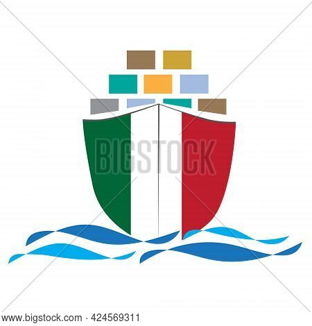 Concept Design Cargo Ship With Italy Flag. Commercial Vessel Containers Freight Import And Export Ma
