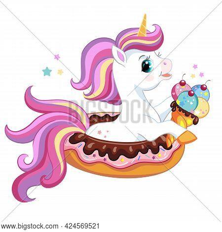 Cute Cartoon Unicorn With Ice Cream Sitting In Donut. Vector Isolated Unicorn Character Illustration