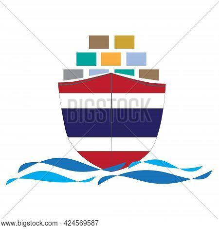 Concept Design Cargo Ship With Thailand Flag. Commercial Vessel Containers Freight Import And Export