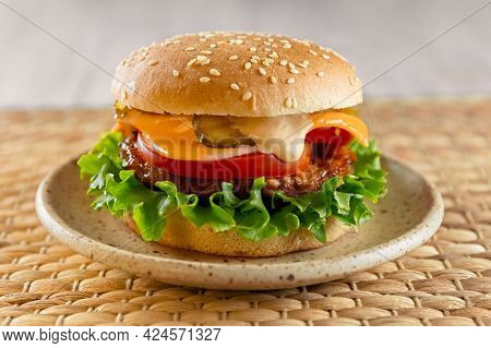 Delicious And Healthy Burger For Lunch And Breakfast. Homemade Recipe. Fast Food. Concept. High Qual