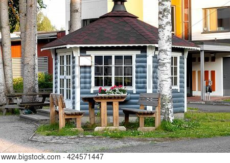 Wooden Gazebo For Barbecue In A Finnish Courtyard. Grill Gazebo. Grill Room. Summer Place For Barbec