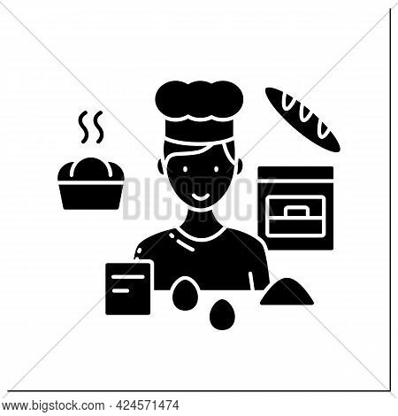 Baking Glyph Icon. Man Bakes Bread, Cakes, Buns. Individual Entrepreneur. Small Business Owner Conce