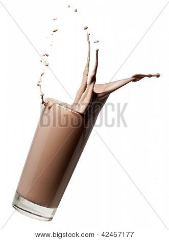 glass of chocolate milk or milkshake falling and making a splash, isolated on white background