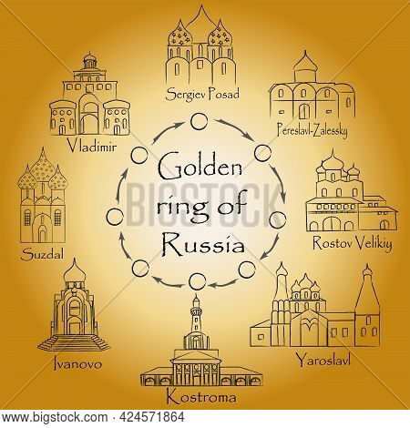 Illustration The Golden Ring Of Russia, The Cities Of Russia Included In The Golden Ring.