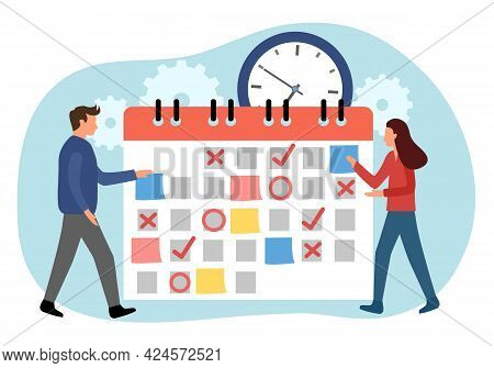 Planning Schedule Concept Vector Illustration. Time Management. Check Schedule And Appointment In Jo