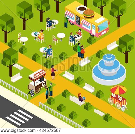 Street Food Truck In Water Park Selling Visitors Donuts And Coffee Isometric Composition Poster Abst