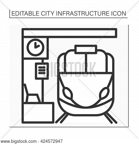Railway Station Line Icon.place Or Building For Arrival And Departure Of Trains. Platforms With Pass