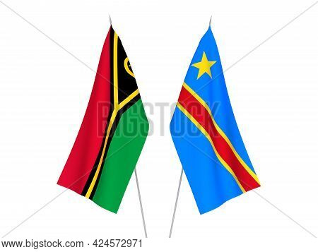 National Fabric Flags Of Democratic Republic Of The Congo And Republic Of Vanuatu Isolated On White