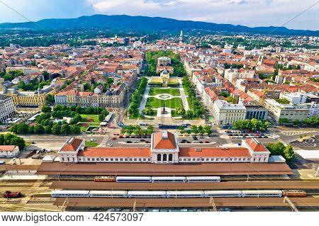 Zagreb Central Train Station And Lenuci Horseshoe. Green Zone Of Zagreb Historic City Center Aerial