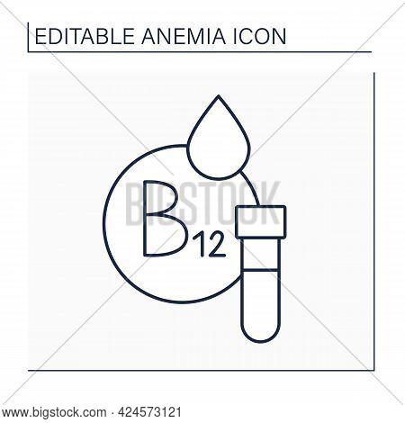 Test Tube Line Icon. Vitamin B-12 Testing. Blood Analysis. Health Protection. Anemia Disease Concept
