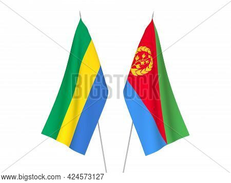 National Fabric Flags Of Gabon And Eritrea Isolated On White Background. 3d Rendering Illustration.