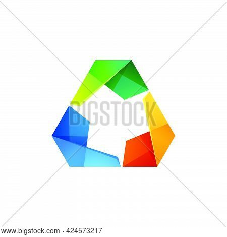 Abstract Triangle Vector Logo. Three Volume Looped Infinity Logotype. Infinite Loop. Icon For The Ap