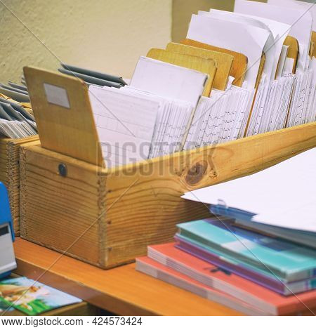 Archival Card Index In The Library. Selective Focus