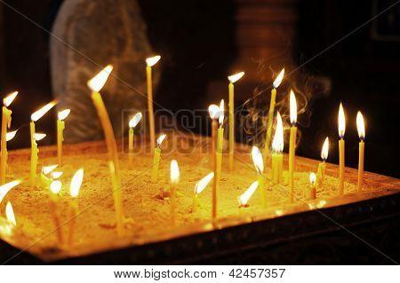 Candles In The Orthodox Georgian Church