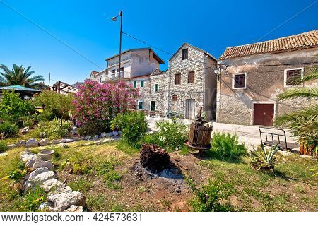 Old Stone Village In Mediterranean Landscape, Island Of Krapanj, Dalmatia Region Of Croatia