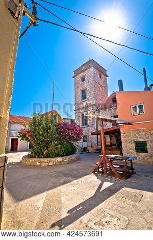 Mediterranean Stone Village On Krapanj Island Square And Tower View, Sea Sponge Harvesting Village,