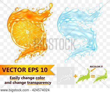 Realistic Detailed 3d Juice And Water Splashes Set. Vector