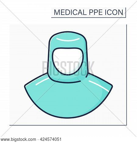 Medical Hood Color Icon. Personal Protective Equipment. Barrier Between Person And Germs. Medical Pp