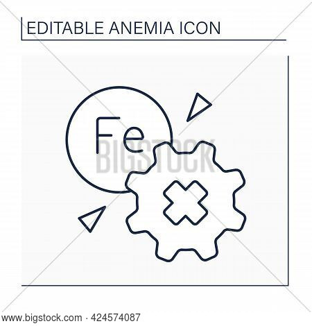 Anemia Line Icon. Disease Symptoms.inability To Absorb Iron. Health Protection Concept. Isolated Vec