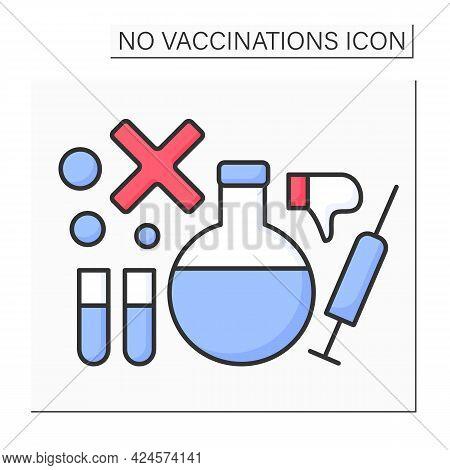 Research Color Icon. Explore Vaccine Against Covid19. Examination On Effectiveness Of Vaccine.no Vac