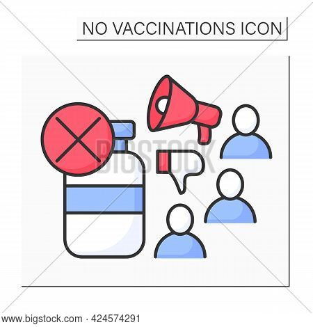 Vaccine Promotion Color Icon. Opinions About Vaccination. No Vaccinations Concept. Isolated Vector I