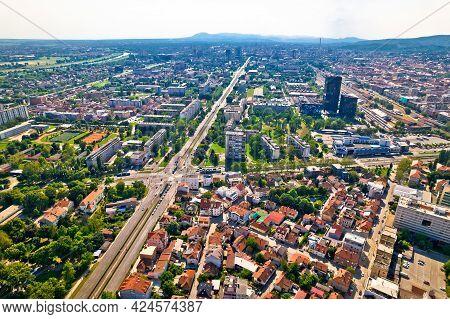 Aerial View Of Vukovarska Drziceva Intersection In Zagreb, Capital Of Croatia