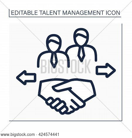 Relationship Line Icon. Maintain Relationships With Past Candidates. Friendly Atmosphere At Workplac