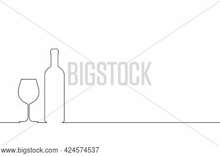 Wine Bottle And Wine Glass Outline On The Table. Symbol Tasting Or Presentation Of Wine Isolated On