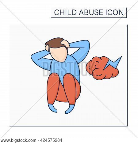 Untreated Mental Illness Color Icon. Abuse And Neglect Through Depression, An Anxiety Disorder, Bipo